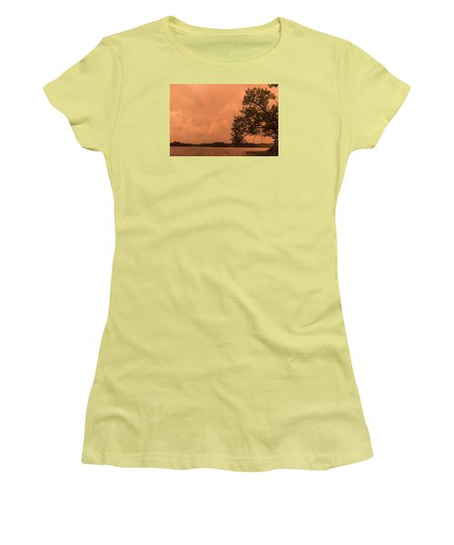 Strange Orange Sunrise With Rainbow Women's T-Shirt (Athletic Fit)