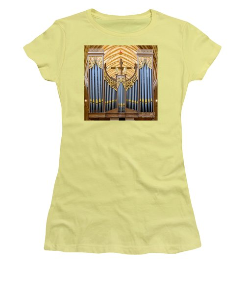 Women's T-Shirt (Junior Cut) featuring the photograph Wells Cathedral Organ by Colin Rayner