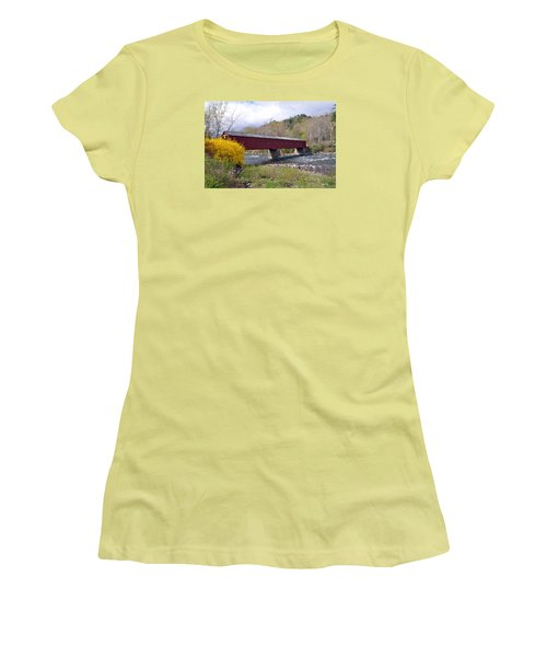 West Cornwall Ct Covered Bridge Women's T-Shirt (Junior Cut)