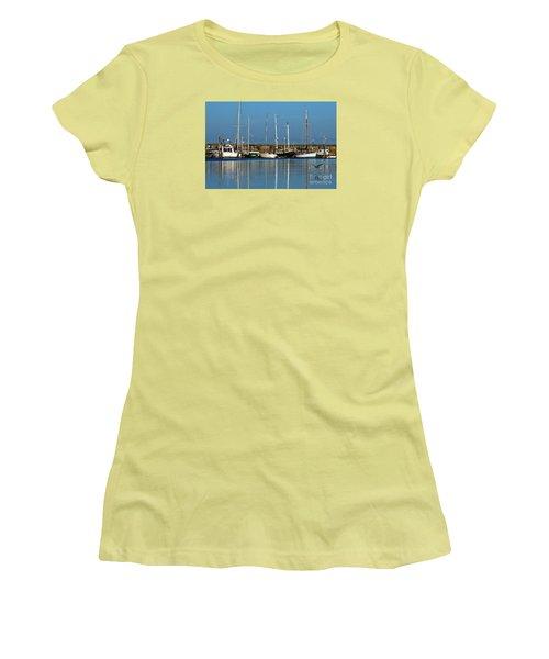 Westport Fishing Fleet I Women's T-Shirt (Junior Cut) by Chuck Flewelling