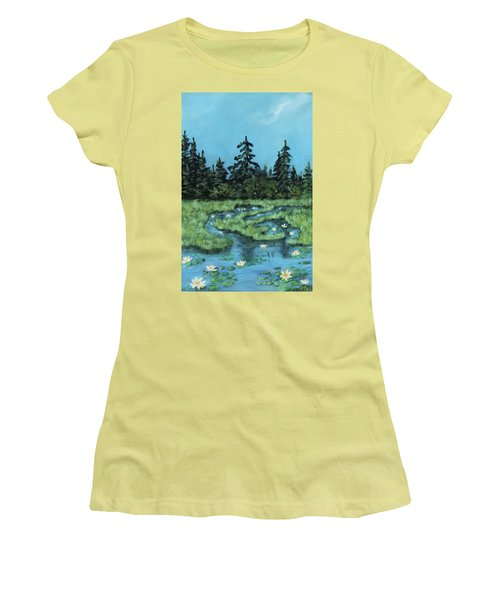 Women's T-Shirt (Athletic Fit) featuring the painting Wetland - Algonquin Park by Anastasiya Malakhova