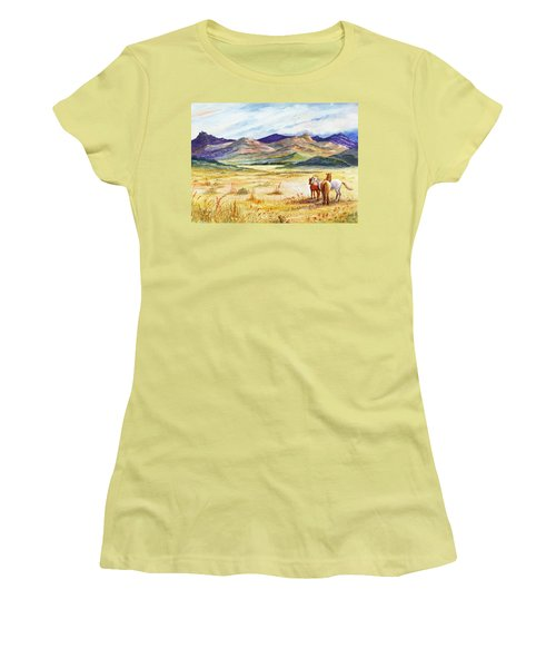 Women's T-Shirt (Junior Cut) featuring the painting What Lies Beyond by Marilyn Smith