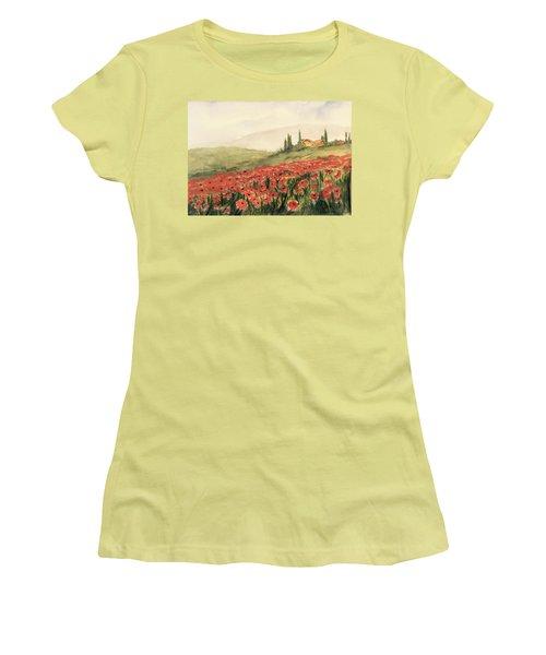 Where Poppies Grow Women's T-Shirt (Junior Cut) by Heidi Patricio-Nadon
