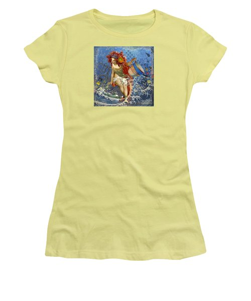 Mermaid Aquarius Vintage Whimsical Gothic Funny Women's T-Shirt (Junior Cut) by Mary Hubley