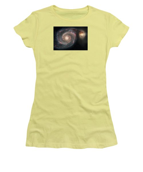 Whirlpool Galaxy And Companion  Women's T-Shirt (Junior Cut) by Hubble Space Telescope
