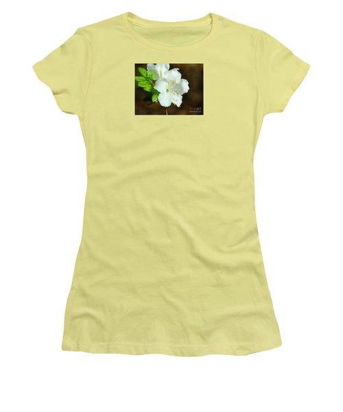 Women's T-Shirt (Junior Cut) featuring the photograph White Azalea  by Rand Herron