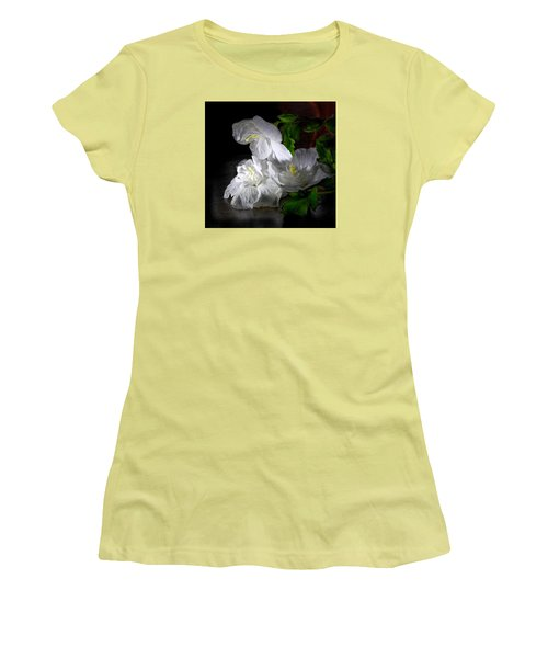 White Blossoms Women's T-Shirt (Athletic Fit)
