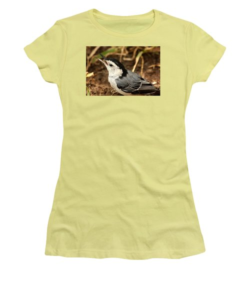 White Breasted Nuthatch 2 Women's T-Shirt (Junior Cut) by Sheila Brown