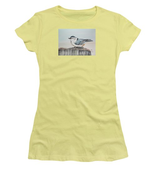 White Breasted Nuthatch Women's T-Shirt (Junior Cut) by Carole Robins