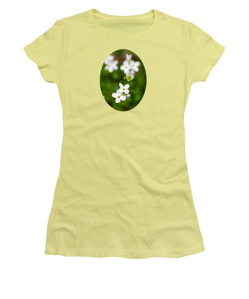 White Cuckoo Flowers Women's T-Shirt (Junior Cut) by Christina Rollo