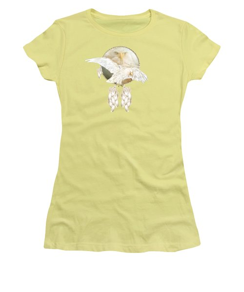 Women's T-Shirt (Junior Cut) featuring the mixed media White Eagle Dreams by Carol Cavalaris