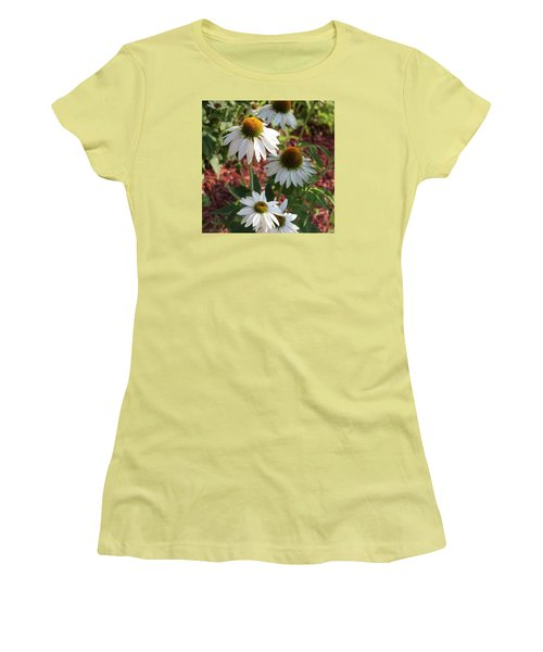 White Echinacea In Pastel Women's T-Shirt (Junior Cut) by Suzanne Gaff