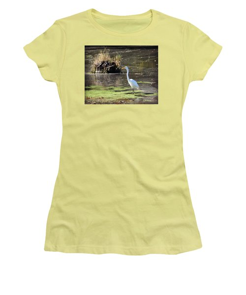 White Egret In The Shallows Women's T-Shirt (Athletic Fit)