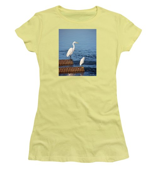 White Egrets Women's T-Shirt (Athletic Fit)