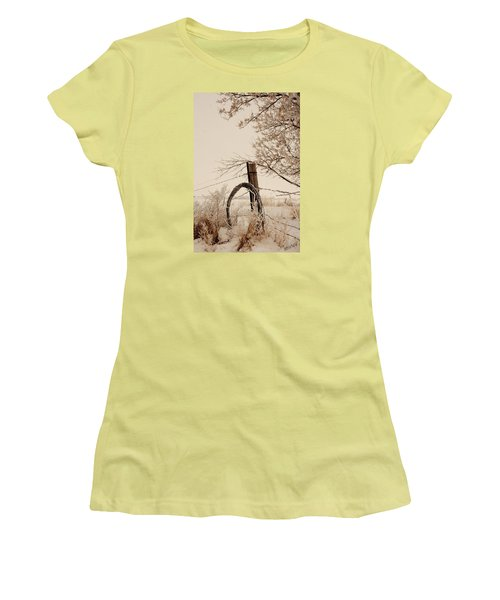 Women's T-Shirt (Junior Cut) featuring the photograph White Fence by Shirley Heier