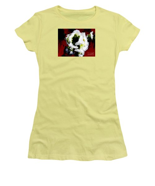 White Flower On Red Background Women's T-Shirt (Junior Cut) by Craig Walters