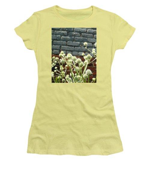 White Flowers And Bricks Women's T-Shirt (Junior Cut) by Susan Lafleur