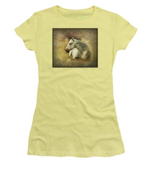 White Horse Art Women's T-Shirt (Athletic Fit)