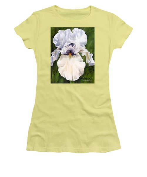 Women's T-Shirt (Athletic Fit) featuring the painting White Iris by Laurie Rohner