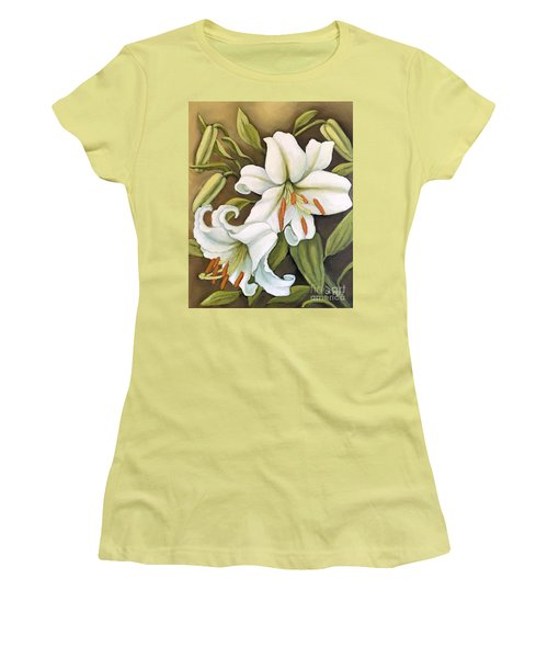 Women's T-Shirt (Junior Cut) featuring the painting White Lilies by Inese Poga