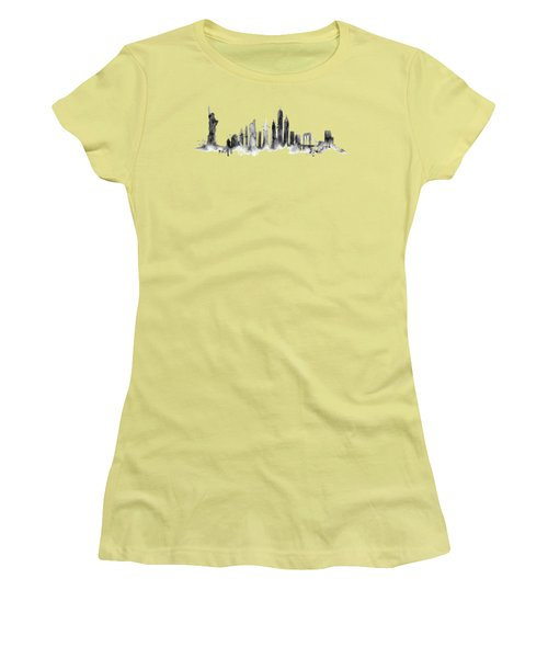 White New York Skyline Women's T-Shirt (Junior Cut) by Aloke Creative Store