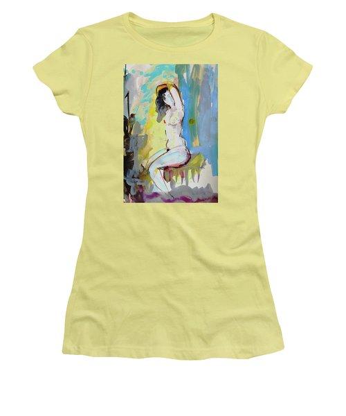 White Nude And Bird Women's T-Shirt (Junior Cut) by Amara Dacer