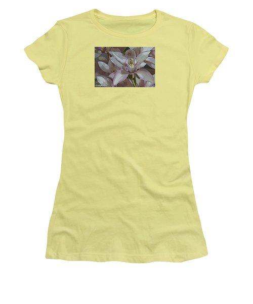 Women's T-Shirt (Junior Cut) featuring the photograph White Orchid Flower by Gary Crockett
