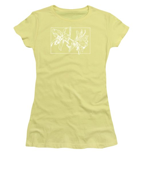 White Orchid On Transparent Background Women's T-Shirt (Athletic Fit)