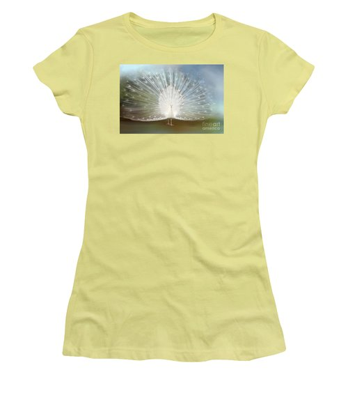 Women's T-Shirt (Junior Cut) featuring the photograph White Peacock In All His Glory by Bonnie Barry