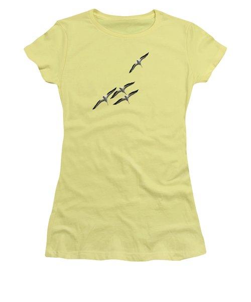 White Pelicans Transparency Women's T-Shirt (Junior Cut) by Richard Goldman
