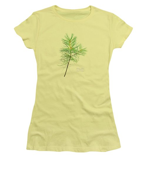 Women's T-Shirt (Junior Cut) featuring the mixed media White Pine by Christina Rollo
