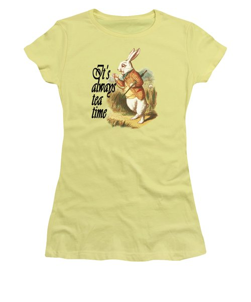White Rabbit Alice In Wonderland Vintage Art Women's T-Shirt (Athletic Fit)
