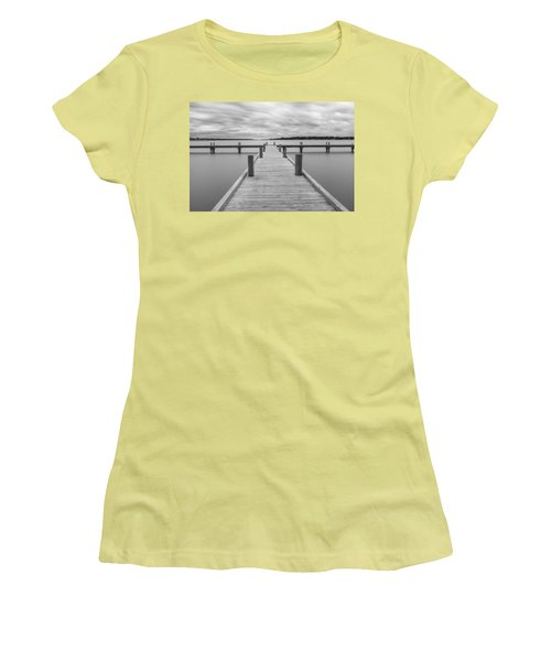 White Rock Lake Pier Black And White Women's T-Shirt (Athletic Fit)