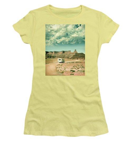 Women's T-Shirt (Junior Cut) featuring the photograph White Rv In Utah by Jill Battaglia