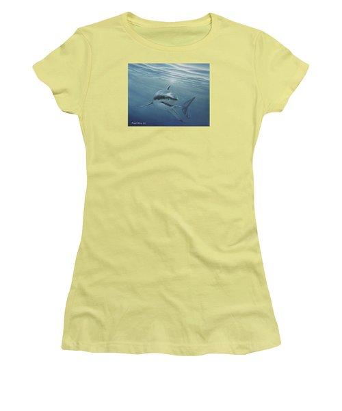 White Shark Women's T-Shirt (Junior Cut) by Angel Ortiz