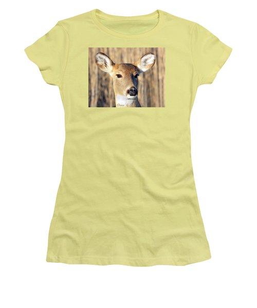 White-tailed Deer Women's T-Shirt (Junior Cut) by Diane Giurco