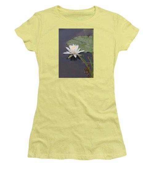 White Water Lotus Women's T-Shirt (Junior Cut) by Debra     Vatalaro