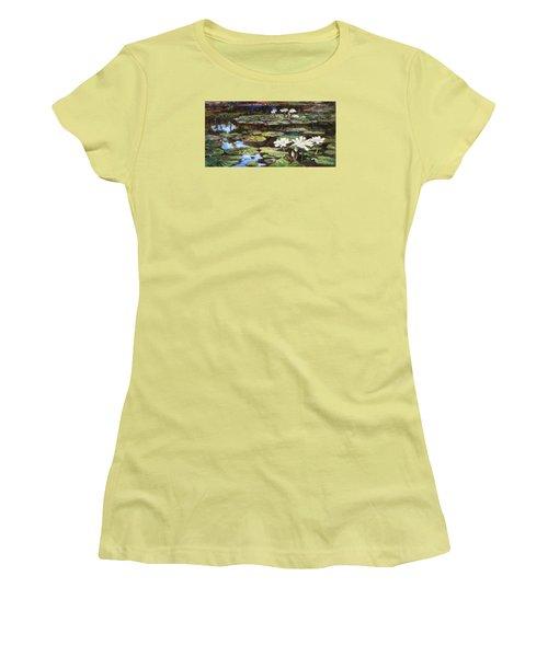 White Waterlilies In Tower Grove Park Women's T-Shirt (Junior Cut) by Irek Szelag