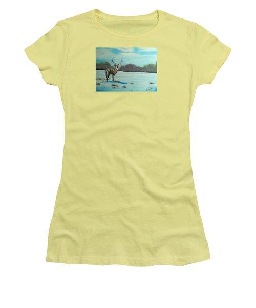 Whitetail Buck Women's T-Shirt (Junior Cut) by Brenda Bonfield