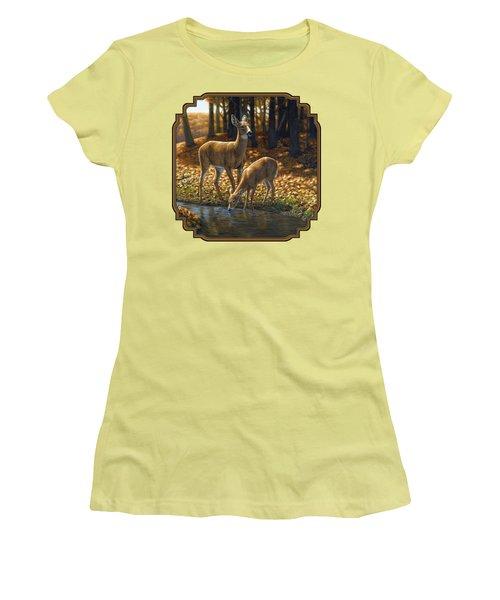 Whitetail Deer - Autumn Innocence 1 Women's T-Shirt (Junior Cut) by Crista Forest