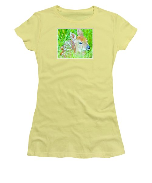 Women's T-Shirt (Junior Cut) featuring the photograph Whitetailed Deer Fawn by A Gurmankin
