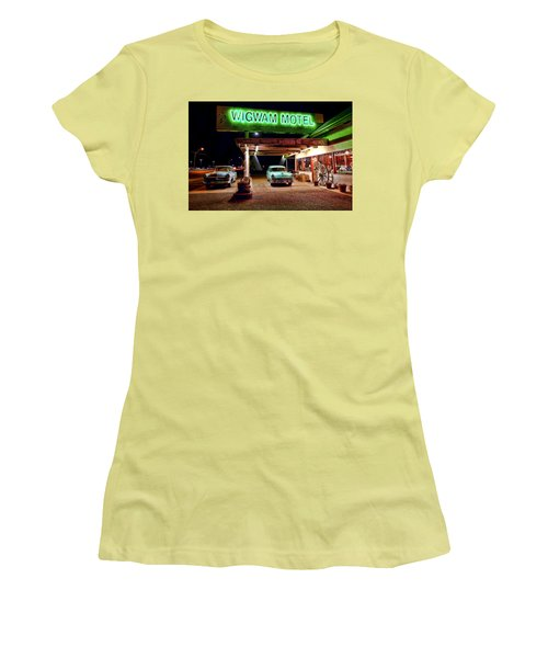 Women's T-Shirt (Junior Cut) featuring the photograph Wigwam Motel by Jason Abando