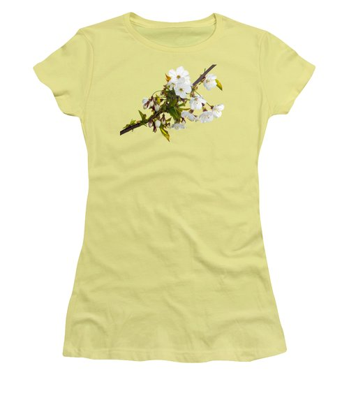Wild Cherry Blossom Cluster Women's T-Shirt (Junior Cut) by Jane McIlroy