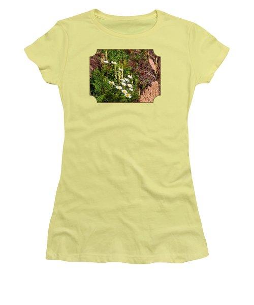 Wild Daisies In The Rocks Women's T-Shirt (Junior Cut) by Gill Billington