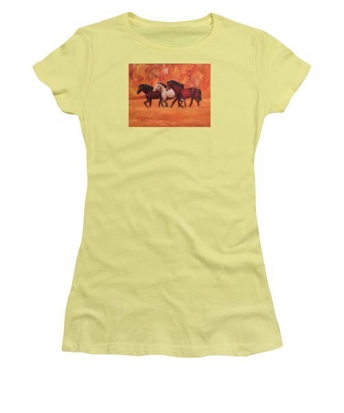Wild Horses Women's T-Shirt (Junior Cut) by Ellen Canfield