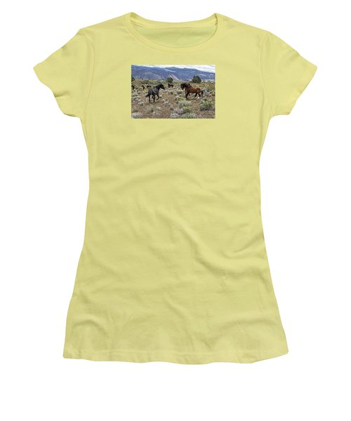 Wild Mustang Stallions Fighting Women's T-Shirt (Athletic Fit)