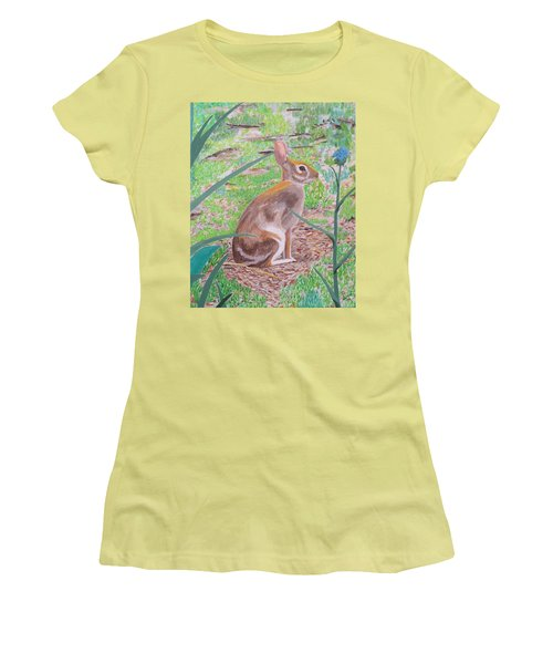 Women's T-Shirt (Junior Cut) featuring the painting Wild Rabbit by Hilda and Jose Garrancho