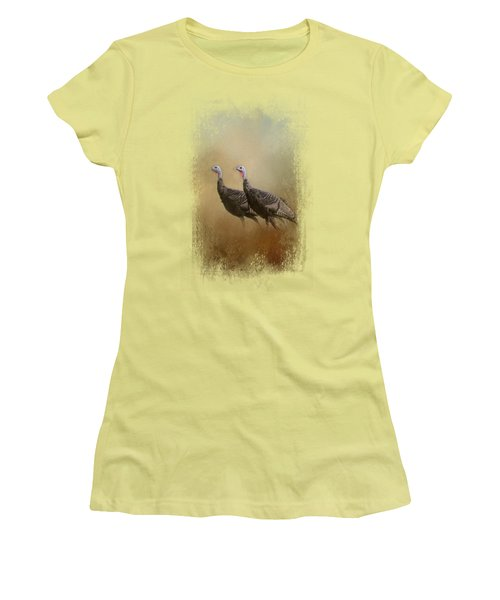 Wild Turkey At Shiloh Women's T-Shirt (Junior Cut) by Jai Johnson