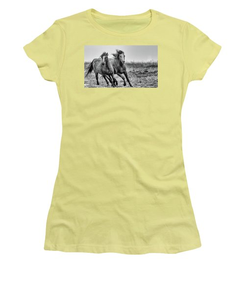 Women's T-Shirt (Junior Cut) featuring the photograph Wild West Wild Horses by Kelly Marquardt