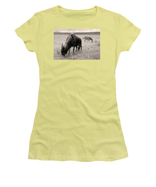 Wildebeest And Zebra Women's T-Shirt (Athletic Fit)